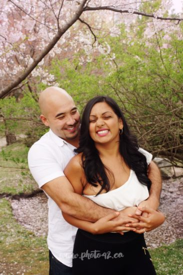 Engagement session at Kariya Park in Mississauga. Blooming cherry trees, japanese cherries mississaua, engagement photographer mississauga, wedding photogrpahy locations mississauga, engagement photo shoot location mississauga, brampton wedding photographer